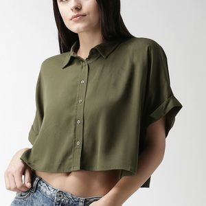 Olive green boxy crop top.